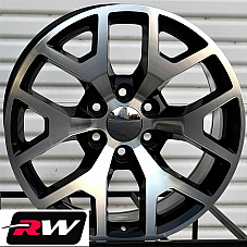 20 inch 20 x9 Wheels for Chevy Avalanche Black Machined GMC Sierra 2014 Rims