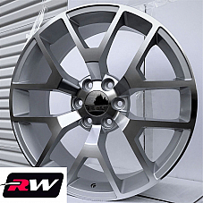 24 x10 inch Wheels for Chevy Avalanche Silver Machined Rims GMC Sierra 2014 2015