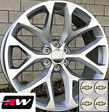 24 x10 inch Chevy Tahoe Factory Style Wheels Snowflake Rims Machined Silver