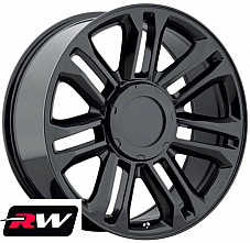22 inch Cadillac Escalade Replica 5358 Wheels Gloss Black Rims 22x9 6x139.7