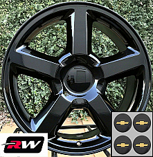 22 inch Chevy Silverado 1500 LTZ OEM Specs Wheels Gloss Black Rims 22x10 6x139.7