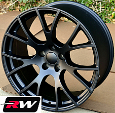 20 x9 inch Wheels for Dodge Challenger SRT Hellcat Matte Black Rims 5x115 +20