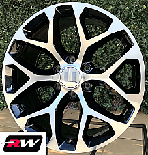 20 x9 inch Chevy Avalanche Factory Style Snowflake Wheels Machined Black Rims