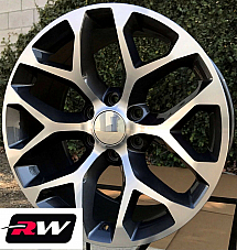 20 inch Chevy Avalanche OE Replica Snowflake Wheels Gunmetal Machined Rims 20 x9