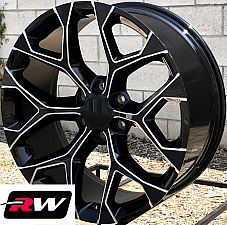 24 inch 24 x10 Wheels for Chevy Avalanche Black Milled Rims CK156