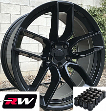 20 RW Wheels for Challenger 20x9 Hellcat Widebody Gloss Black Rims & Lug Nuts
