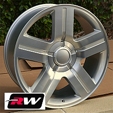 22 inch 22 x9 Wheels for Chevy Avalanche Silver Machined Texas Edition Rims