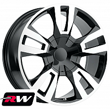 20 x9 Chevy Avalanche OE Replica Wheels Black Machined Tahoe RST Edition Rims