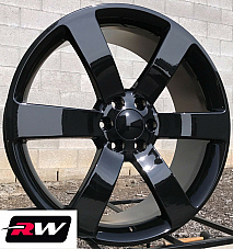 22 x9 inch GMC Envoy 2002-2009 OE Replica Wheels 5254 SS Gloss Black Rims 6x127