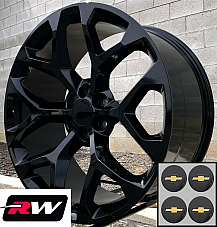 20 inch Chevy Avalanche OE Replica Snowflake Wheels Gloss Black Rims 20 x9