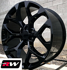 24 inch 24 x10 Wheels for Chevy Avalanche Gloss Black Rims CK156