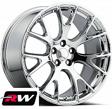 20 inch 20x9.5 Wheels for Dodge Challenger Chrome SRT Hellcat Rims 5x115 +15