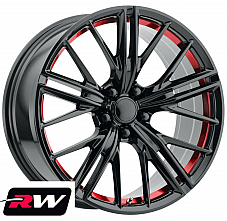 20 inch 20x9 Wheels for Chevy Camaro 2010-2019 Gloss Black Red Rims ZL1 5x120
