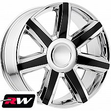 22 Cadillac Escalade Replica Wheels 4739 Chrome Rims with Gloss Black inserts