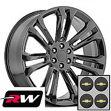 22 x 9 inch 5666 OEM Specs Gloss Black Replica Wheels for Chevy Silverado 99-18