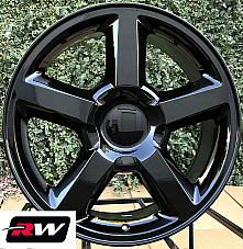 20 x8.5 inch Chevy Avalanche LTZ 5308 OE Replica Wheels Gloss Black Rims
