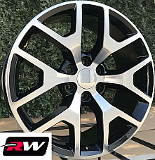 24 inch 24 x10 Wheels for Chevy Avalanche Black Machined Rims GMC Sierra 2014