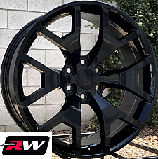 20 x9 inch Chevy Avalanche Replica Honeycomb Wheels Gloss Black Rims 6x139.7 +27