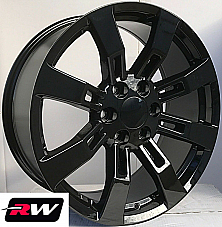 20 x8.5 inch Chevy Avalanche OE Replica Denali Wheels CK375 Gloss Black Rims